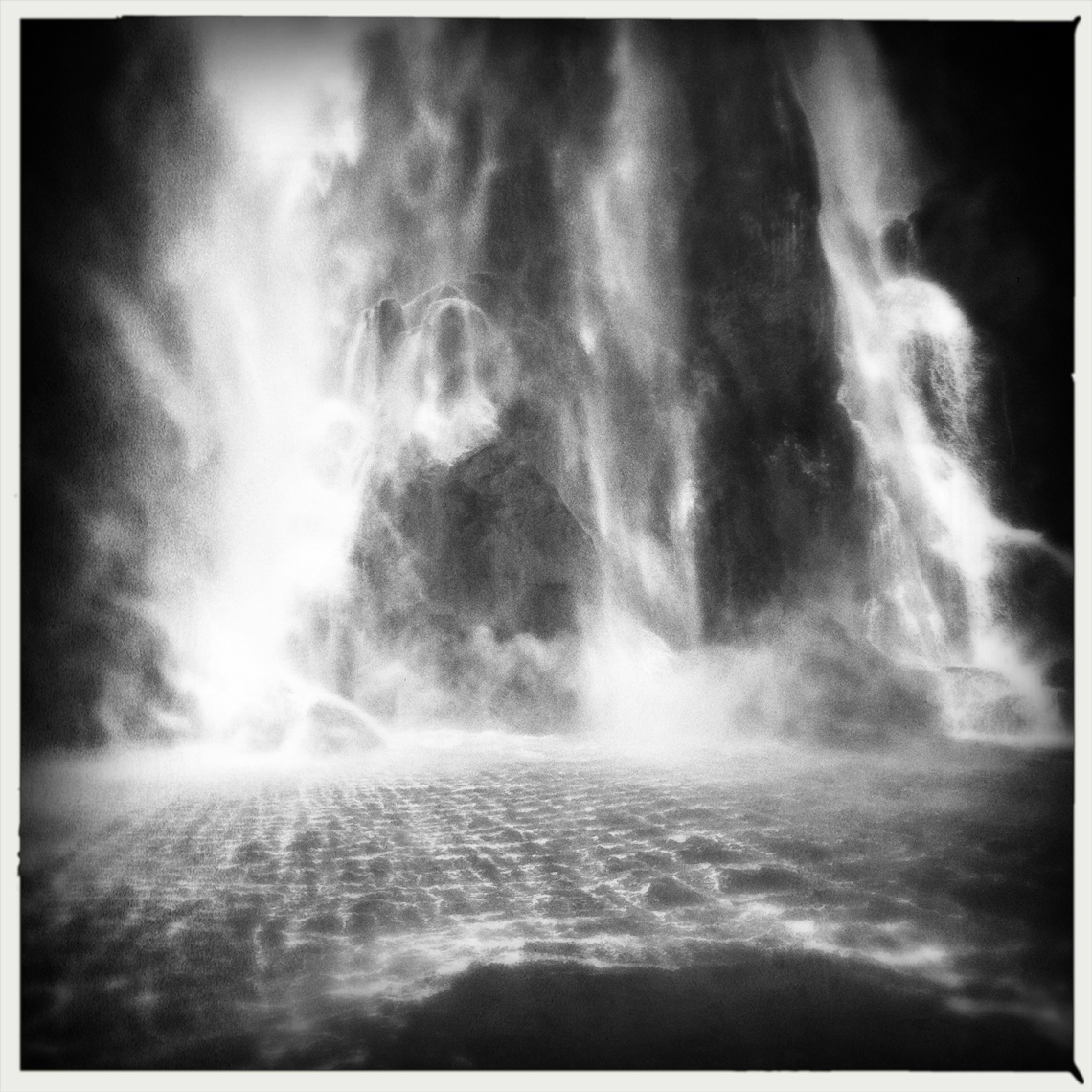 Jon Wyatt Photography - Waterfall in Milford Sound, New Zealand. Hipstamatic