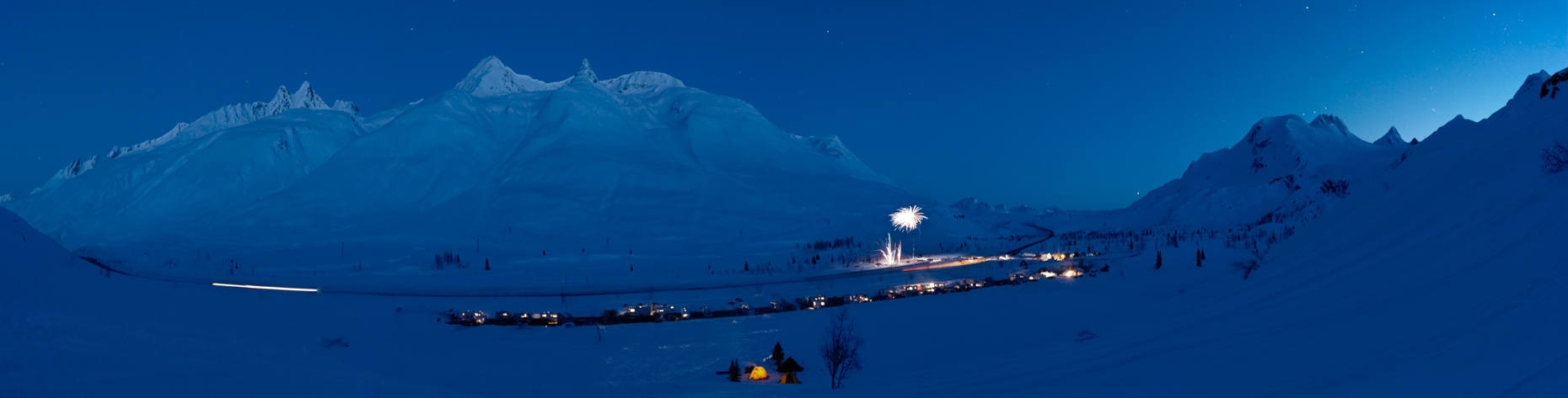 Jon Wyatt Photography - Fireworks after sunset at the Tailgate Snowboard Festival, Thompson Pass, Valdez, Alaska