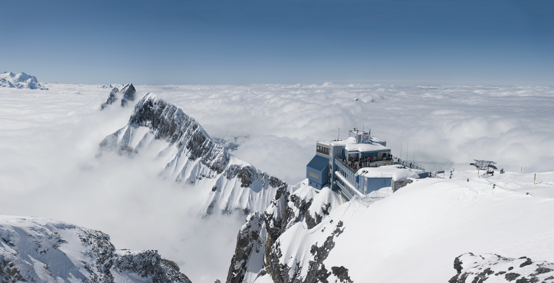 Jon Wyatt Photography - Panorama of Snow-capped mountains from above the Titlis cable car, Engelberg, switzerland