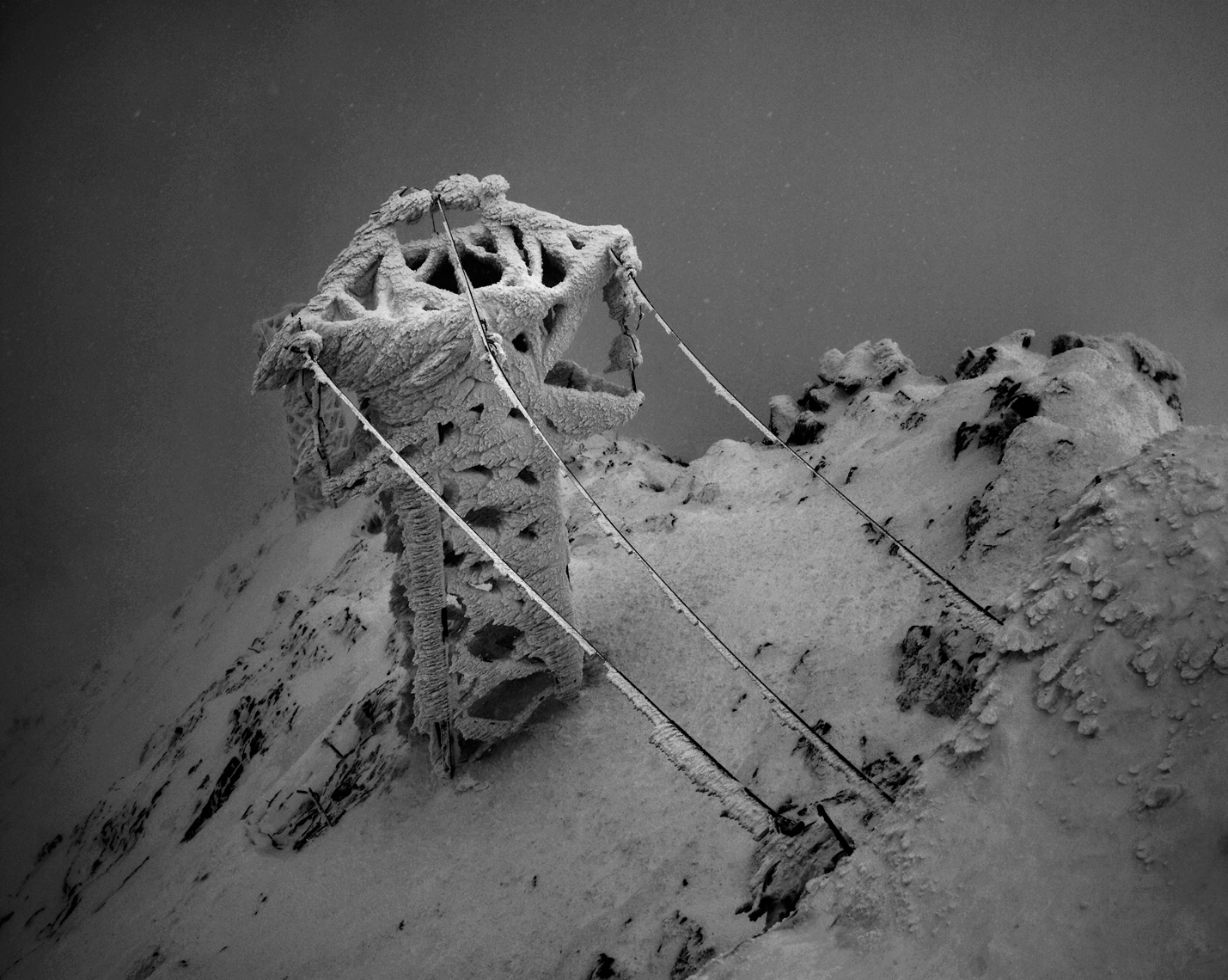 Jon Wyatt Photography - Ice-encrusted pylon near the peak of Lomnicky Stit, High Tatras mountains, Slovakia