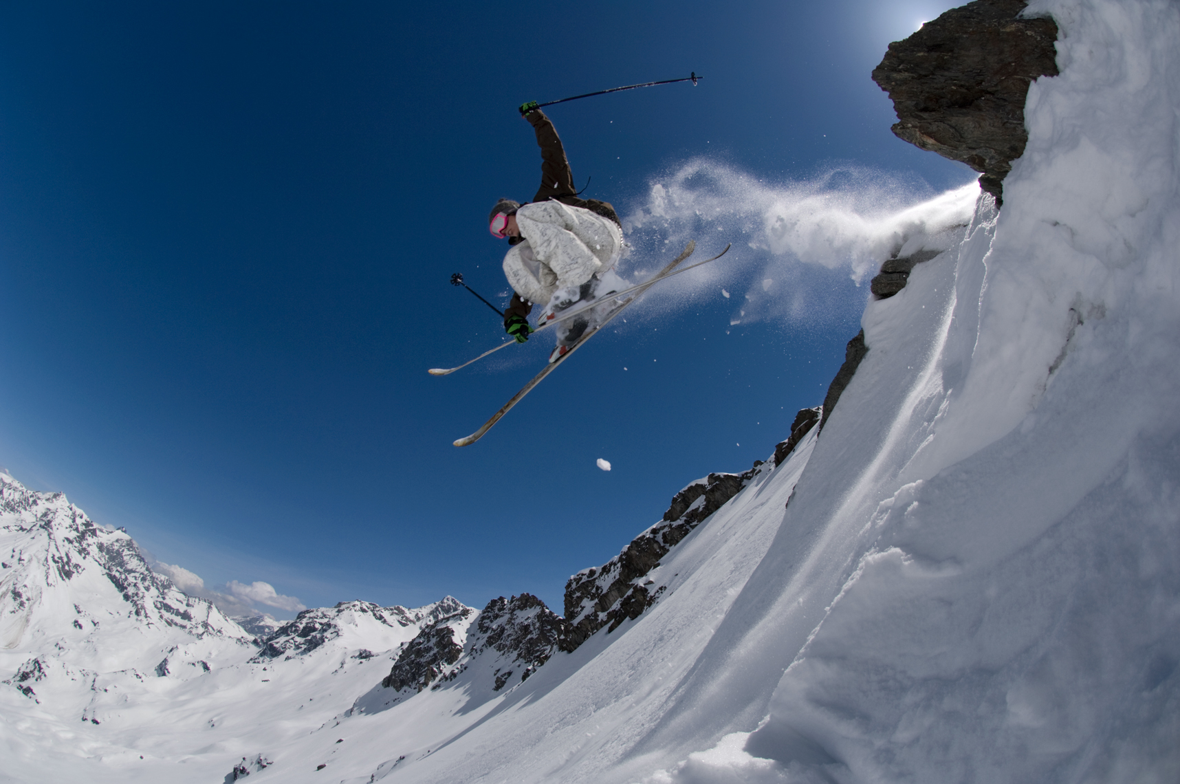 Jon Wyatt Photography - Skier jumping off rock, Sainte Foy Tarentaise, France